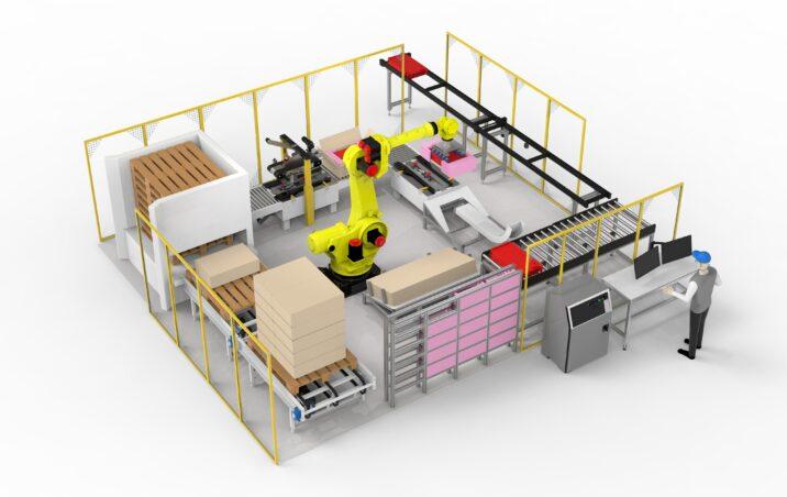 Automaatne pakkeliin - kasti formeerimine, teipimine, markeerimine, palleteerimine